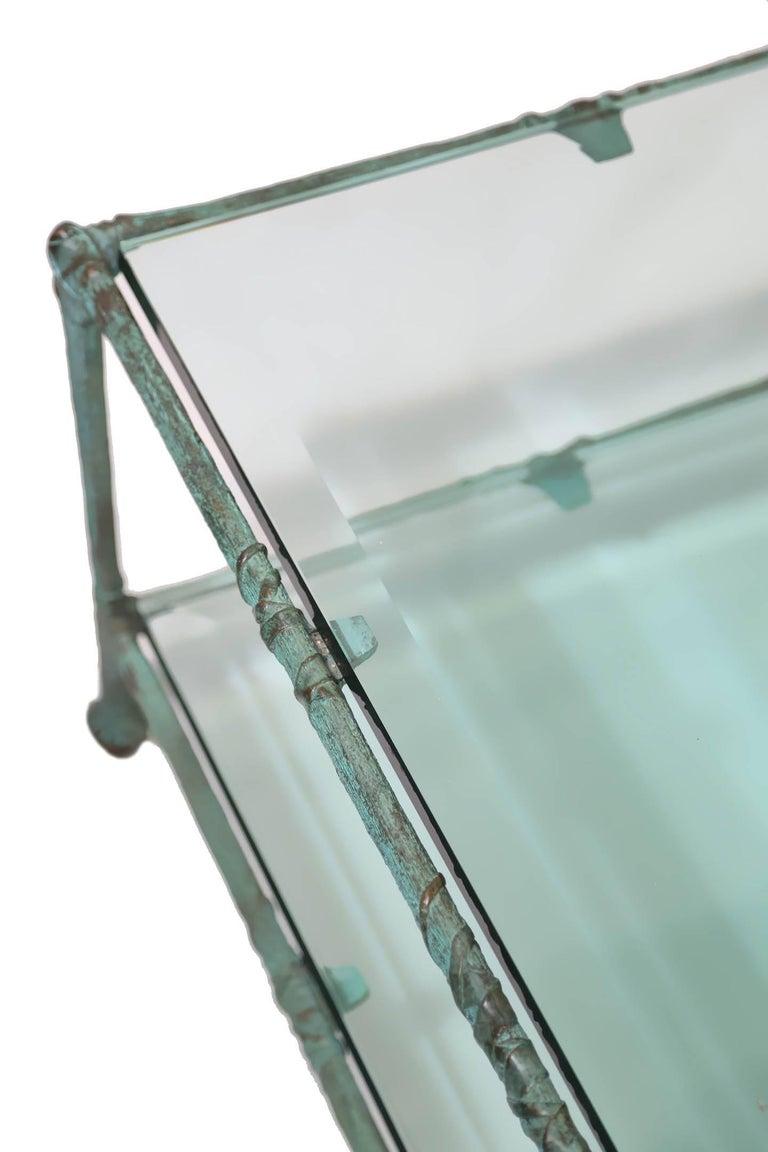 Glass Coffee Table in the Style of Alberto Giacometti In Excellent Condition For Sale In Miami, FL