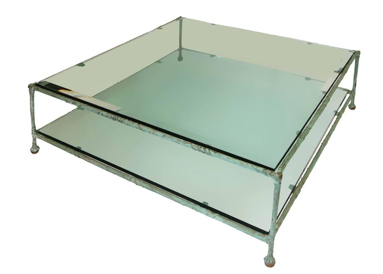 20th Century Glass zand bronze base Coffee Table in the Style of Alberto Giacometti For Sale