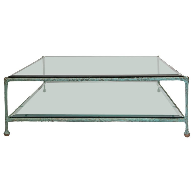 Glass Coffee Table in the Style of Alberto Giacometti For Sale