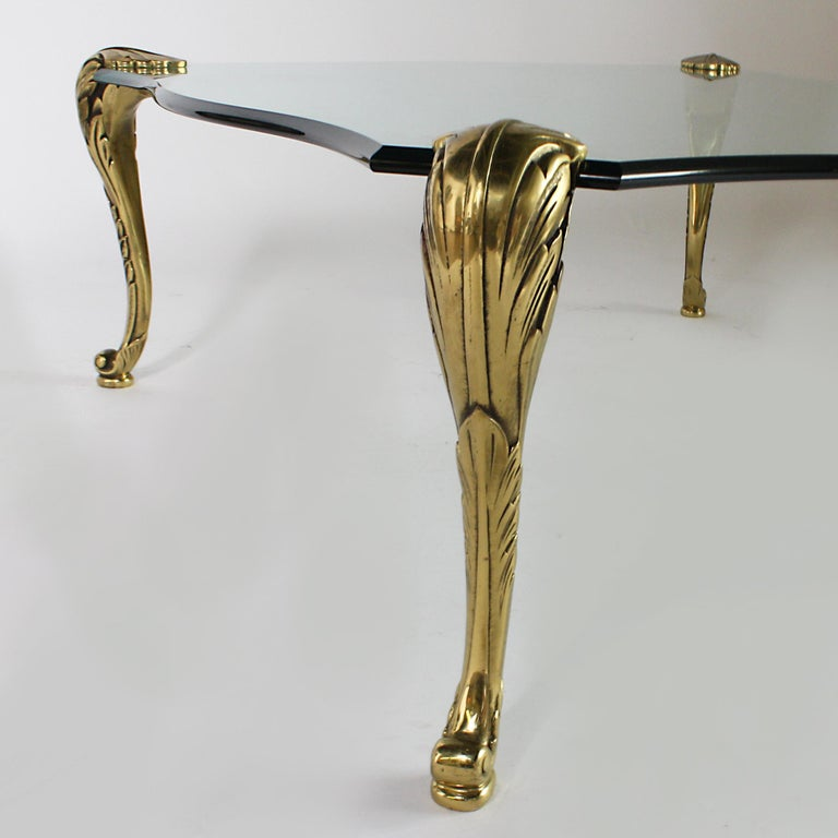 Italian Glass Coffee Table with Brass Legs, circa 1940 For Sale
