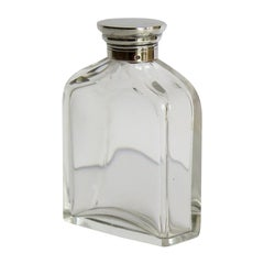 Crystal Glass Cologne or Perfume Bottle with Sterling Silver Top, circa 1910