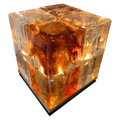 Glass Cube Lamp by Poliarte, Italy, 1970s