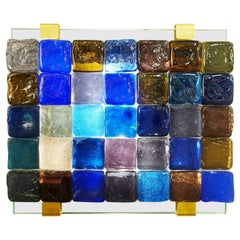 Glass Cube Wall Lamp, Belgian Creation by J. Nonnon