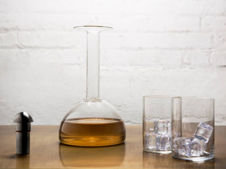 Glass Decanter, Completely Handcrafted in Chicago In New Condition For Sale In Chicago, IL
