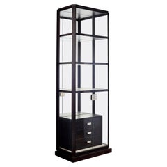 Glass Display Cabinet with Alabaster Shelves and Leather Drawers. Customizable.