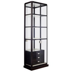Glass Display Cabinet with Alabaster Shelves and Leather Drawers, Available now