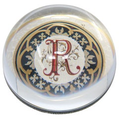 """Glass Dome Crystal Paperweight Punch Studio Made in France Monogramed """"R"""""""