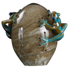 Glass Egg Crack with Frogs Color Turquoise, in Glass, Italy