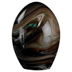 Glass Egg Marble Effect Color Brown, in Glass, Italy