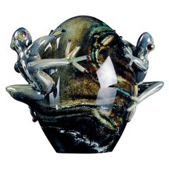 Glass Egg Marble Effect with Frogs Color Gray, in Glass, Italy