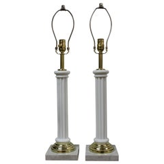 Glass Empire Column Lamps on Marble Bases