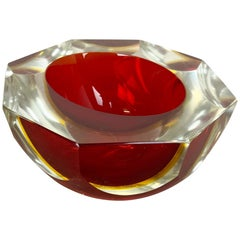 Glass Faceted Sommerso Bowl Element Ashtray Flavio Poli Attributed Murano, Italy