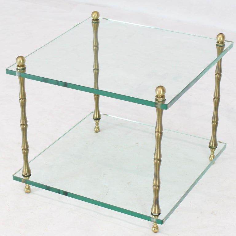 Mid-Century Modern Glass Faux Bamboo Brass Cube Square Side Table Stand For Sale