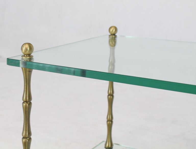 20th Century Glass Faux Bamboo Brass Cube Square Side Table Stand For Sale