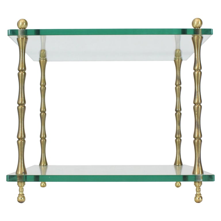 Glass Faux Bamboo Brass Cube Square Side Table Stand For Sale
