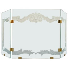 Glass Fireplace Screen with Brass Hinges by Danny Alessandro, Custom Etching