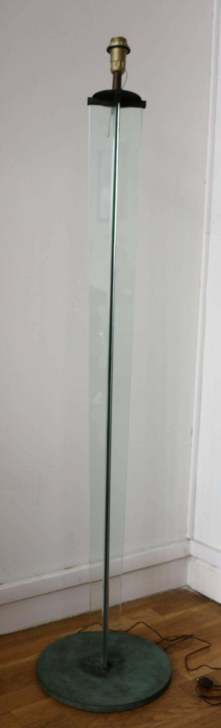 Art Deco Glass Floor Lamp by Jacques Adnet, Art Déco, 1930s, France