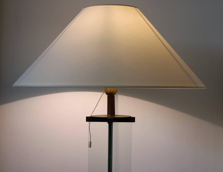 French Glass Floor Lamp by Jacques Adnet, Art Déco, 1930s, France