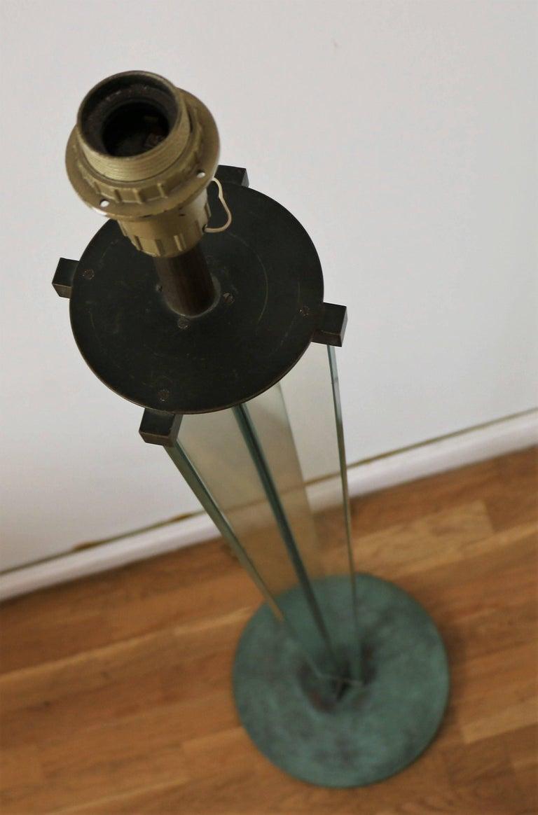 Metal Glass Floor Lamp by Jacques Adnet, Art Déco, 1930s, France