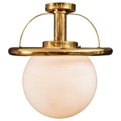 Glass Globe with Brass Pendant Light
