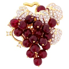 Glass Grapes Cluster Brooch By Nolan Miller, 1980s
