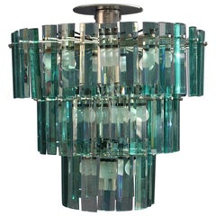 Glass Green Chandelier Italian Design Round Arteluce Ico Parisi 1964 Cromed