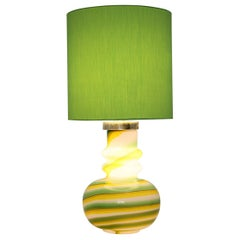 Glass Green Yellow White Vintage Mid-Century Modern Table Lamp, 1960s, Italy