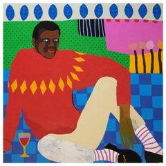 'Glass Half Full' Portrait Painting by Alan Fears Pop Art Figurative