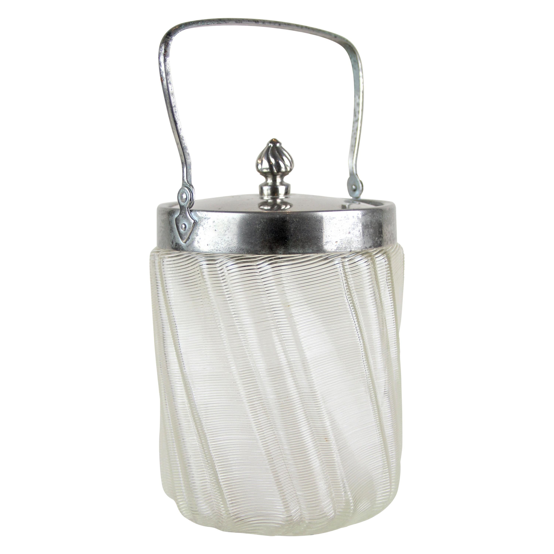 Glass Jar with Chromed Lid Art Nouveau, Austria, circa 1900