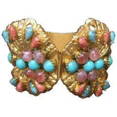 Glass Jeweled Massive Butterfly Bracelet Designed by Original by Robert c 1950s