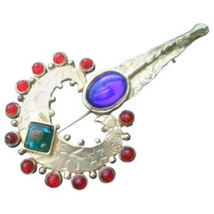 Glass Jeweled Heart & Key Brooch Designed by Robert Rose c 1980s