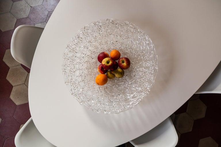 Baroque Revival Glass Lace Fruit Bowl, Large For Sale