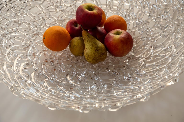 Italian Glass Lace Fruit Bowl, Large For Sale