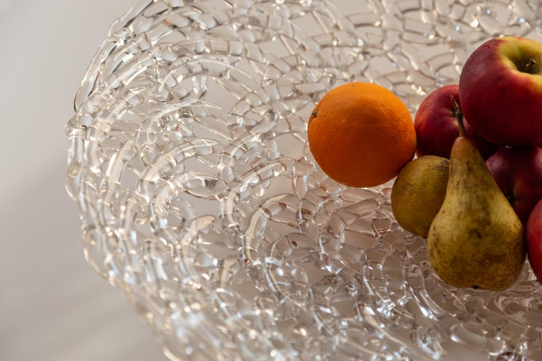 Glass Lace Fruit Bowl, Large In New Condition For Sale In Milano, IT