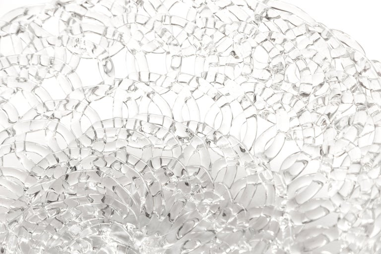 Contemporary Glass Lace Fruit Bowl, Large For Sale
