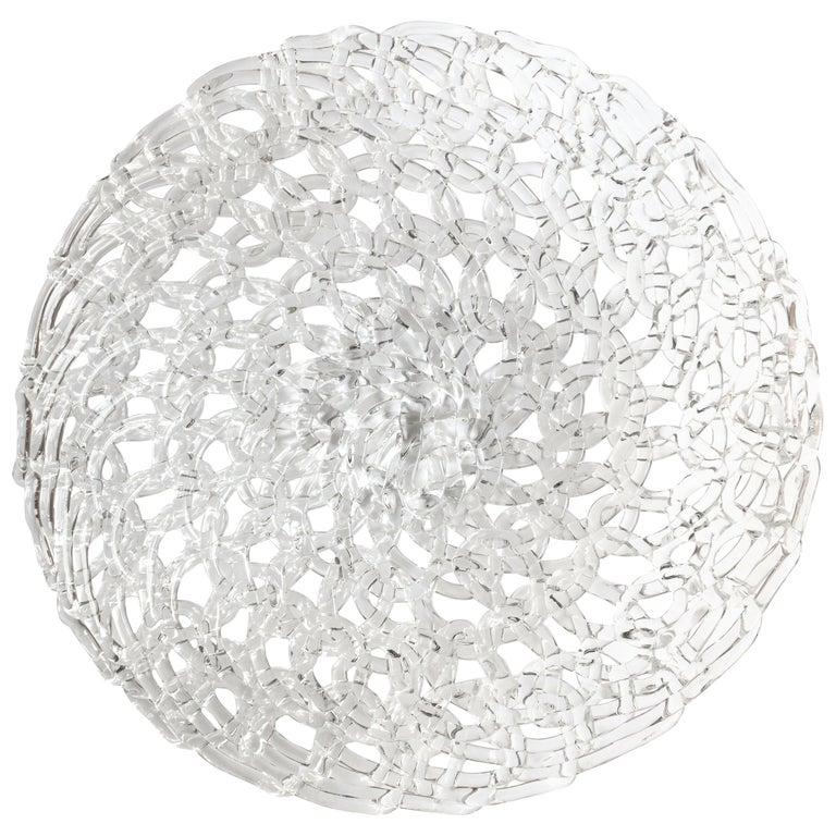 Glass Lace Fruit Bowl, Large For Sale