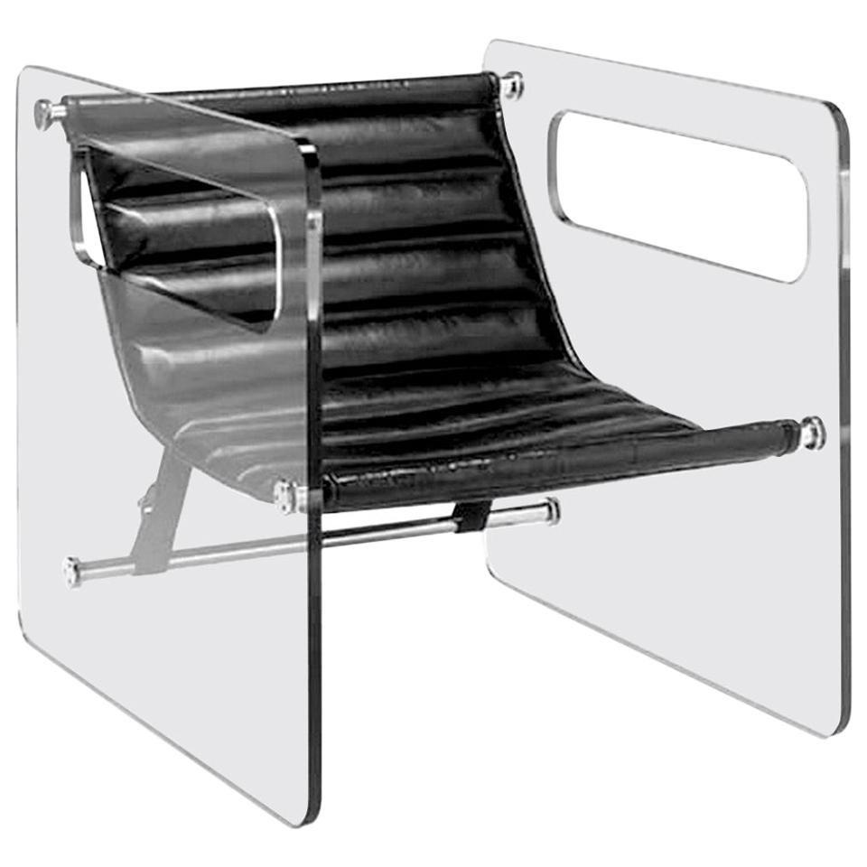 Black Lounge Glass / Leather Chair Giovanni, by Tommaso Garattoni