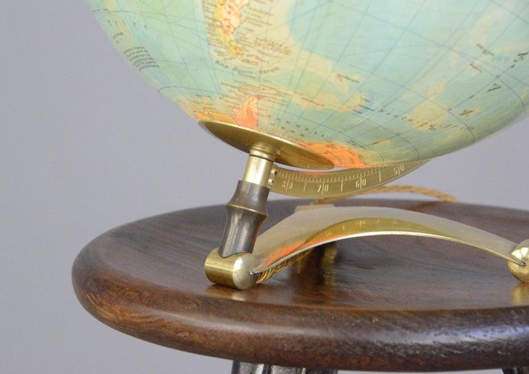 Mid-Century Modern Glass Light Up Desk Globe, circa 1950s For Sale