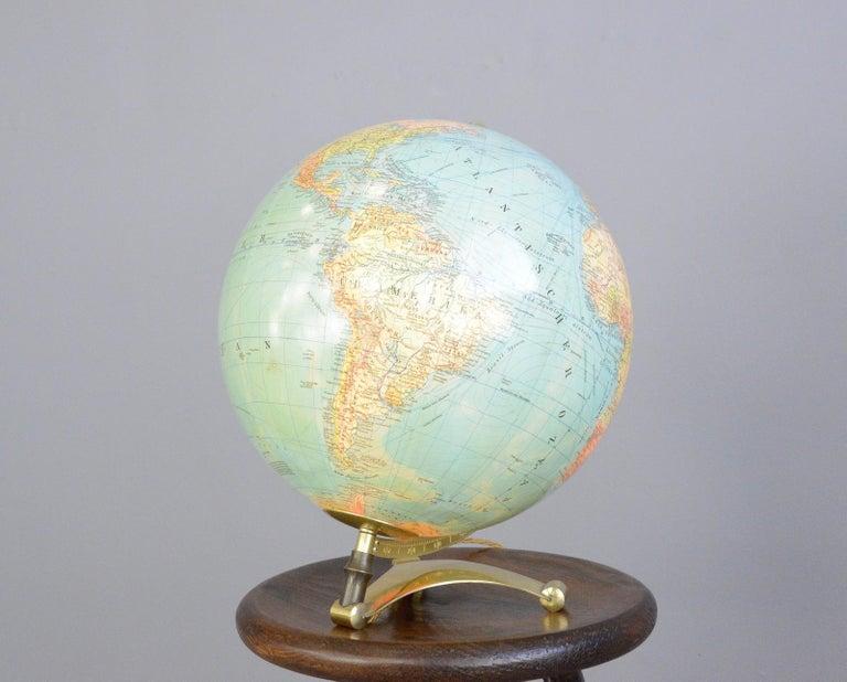 German Glass Light Up Desk Globe, circa 1950s For Sale