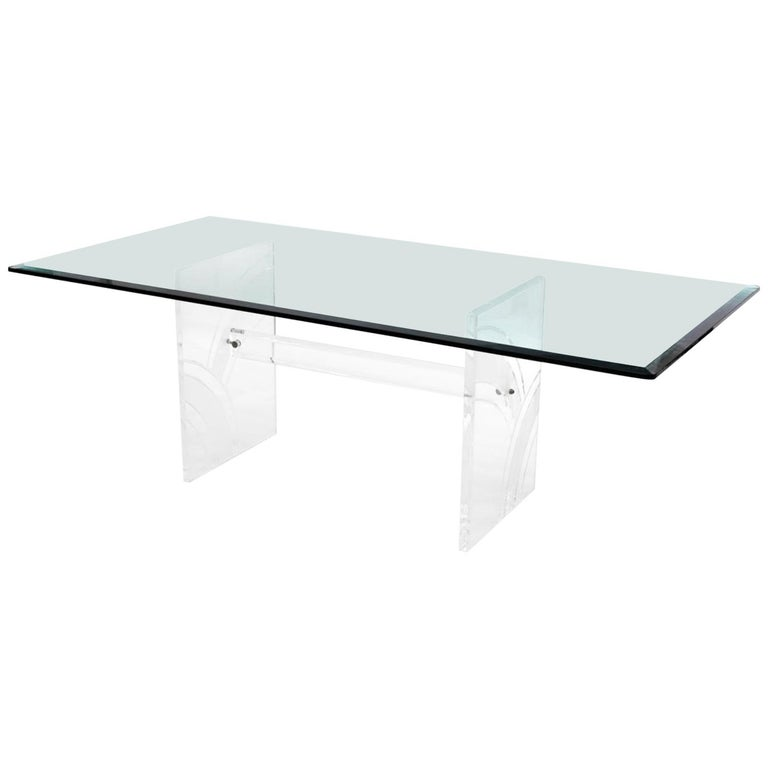 Glass Dining Table For Sale: Glass Lucite Vintage Dining Table For Sale At 1stdibs
