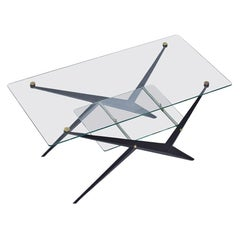 Glass, Metal, Brass Side Table by Angelo Ostuni, 1950s