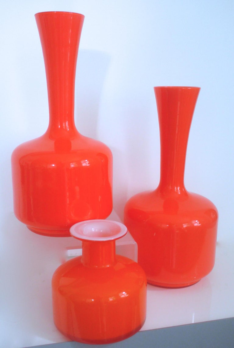 Glass Mid-Century Modern orange vases/pitcher - 1960s in style of Holmegaard/Aseda