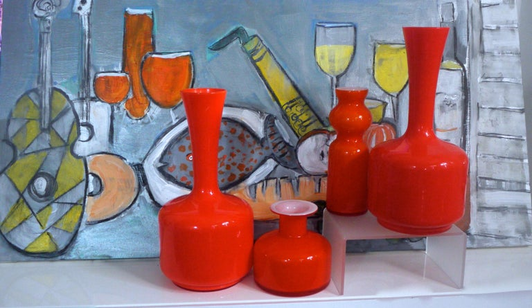 Glass Mid-Century Modern Orange Vases/Pitcher 1960s in Style of Holmegaard/Aseda In Good Condition For Sale In Halstead, GB