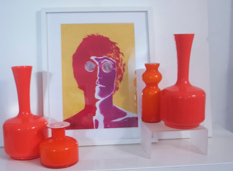 20th Century Glass Mid-Century Modern Orange Vases/Pitcher 1960s in Style of Holmegaard/Aseda For Sale