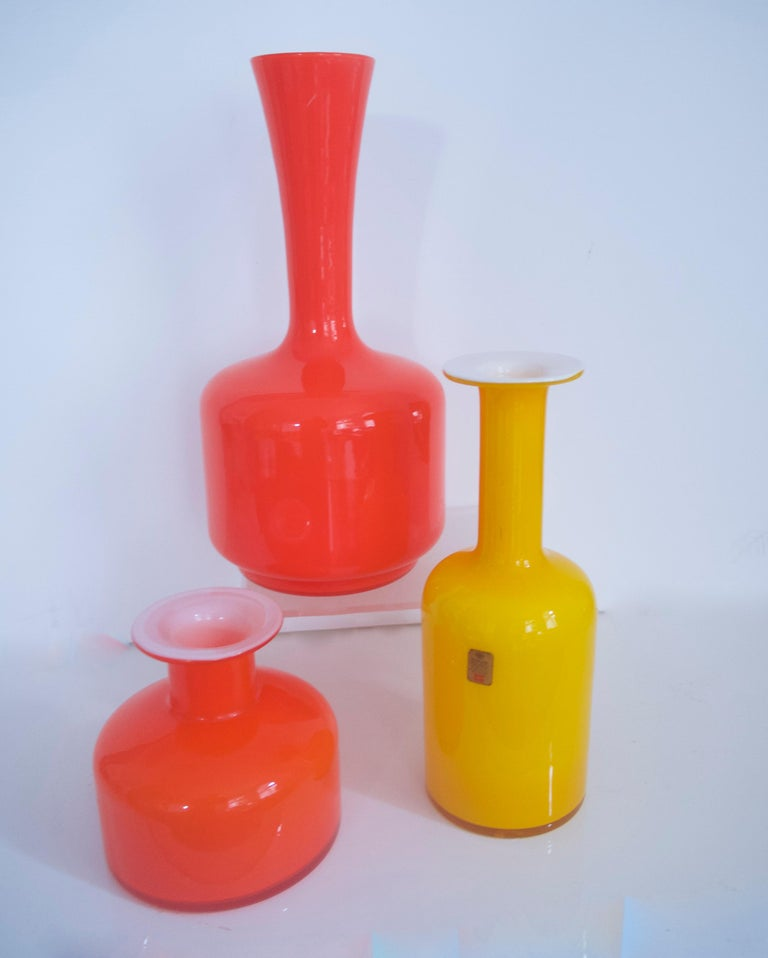 Blown Glass Glass Mid-Century Modern Orange Vases/Pitcher 1960s in Style of Holmegaard/Aseda For Sale