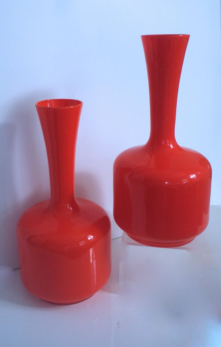Glass Mid-Century Modern Orange Vases/Pitcher 1960s in Style of Holmegaard/Aseda For Sale 1