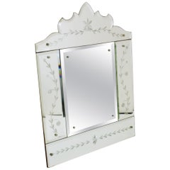 Glass Mirror Manufactured in Murano, Venice, Italy in the Early 1960s