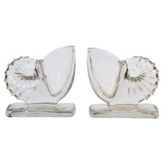 Glass Nautilus Seashell Bookends and Vases, Pair