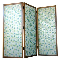 Three Panel Walnut Frame Screen with Circles Pattern Molded Glass Painted Dots
