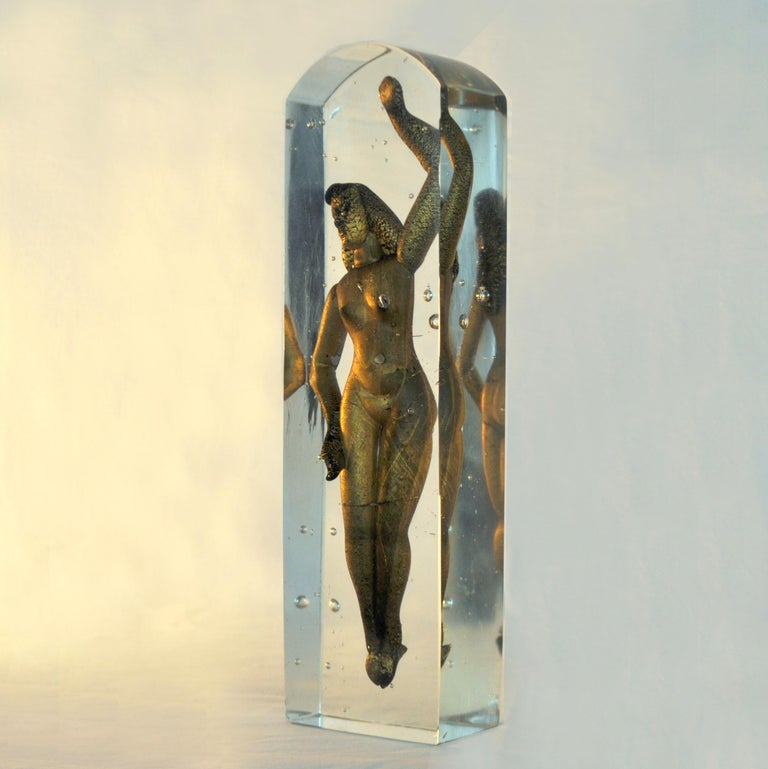 Hand-Crafted Glass Paperweight by Alfredo Barbini, 'Nudo nel Aqua', 1949 For Sale